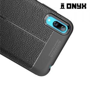 Leather Litchi силиконовый чехол накладка для Huawei Y7 Pro 2019 - Черный
