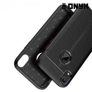 Leather Litchi силиконовый чехол накладка для iPhone XR - Черный