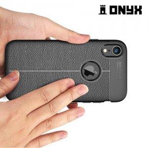 Leather Litchi силиконовый чехол накладка для iPhone XR - Синий