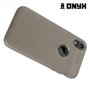 Leather Litchi силиконовый чехол накладка для iPhone XR - Серый