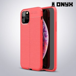 Leather Litchi силиконовый чехол накладка для iPhone 11 Pro - Коралловый