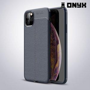 Leather Litchi силиконовый чехол накладка для iPhone 11 Pro Max - Синий