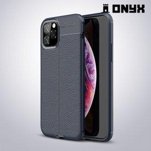 Leather Litchi силиконовый чехол накладка для iPhone 11 Pro - Синий