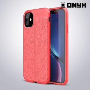 Leather Litchi силиконовый чехол накладка для iPhone 11 - Коралловый
