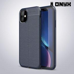 Leather Litchi силиконовый чехол накладка для iPhone 11 - Синий