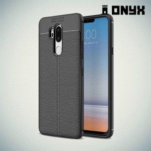Leather Litchi силиконовый чехол накладка для LG G7 ThinQ - Черный