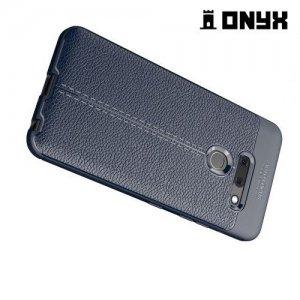 Leather Litchi силиконовый чехол накладка для LG G8 ThinQ - Синий