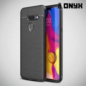 Leather Litchi силиконовый чехол накладка для LG G8 ThinQ - Черный