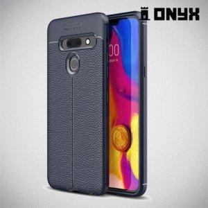 Leather Litchi силиконовый чехол накладка для LG G8s ThinQ - Синий