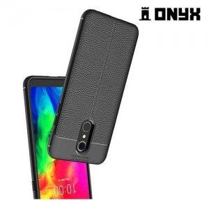 Leather Litchi силиконовый чехол накладка для LG Q7 / Q7+ / Q7a - Черный