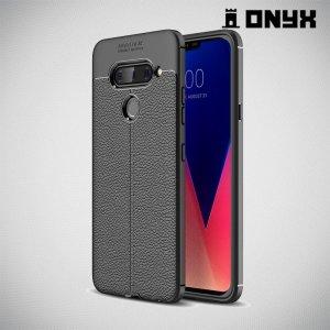 Leather Litchi силиконовый чехол накладка для LG V40 ThinQ - Черный