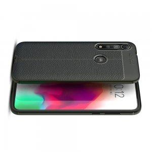 Leather Litchi силиконовый чехол накладка для Motorola Moto G8 Plus - Черный