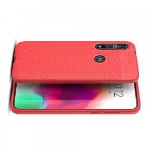 Leather Litchi силиконовый чехол накладка для Motorola Moto G8 Plus - Красный