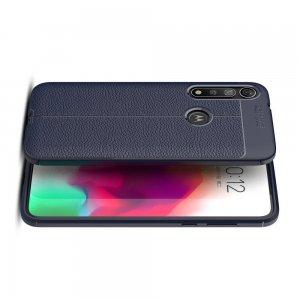 Leather Litchi силиконовый чехол накладка для Motorola Moto G8 Plus - Синий