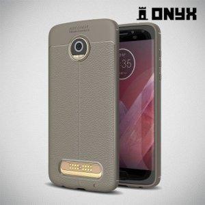 Leather Litchi силиконовый чехол накладка для Motorola Moto Z2 Play - Серый