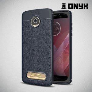 Leather Litchi силиконовый чехол накладка для Motorola Moto Z2 Play - Синий