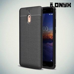 Leather Litchi силиконовый чехол накладка для Nokia 2.1 2018 - Черный