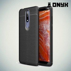 Leather Litchi силиконовый чехол накладка для Nokia 3.1 Plus - Черный
