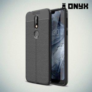 Leather Litchi силиконовый чехол накладка для Nokia 7.1 - Черный