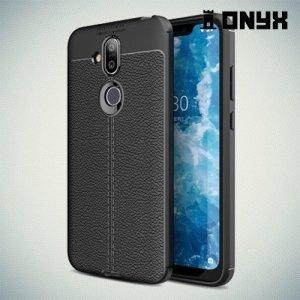 Leather Litchi силиконовый чехол накладка для Nokia 7.1 Plus - Черный