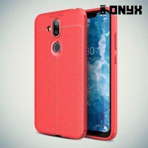 Leather Litchi силиконовый чехол накладка для Nokia 7.1 Plus - Коралловый