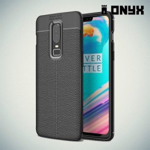 Leather Litchi силиконовый чехол накладка для OnePlus 6 - Черный