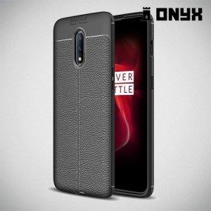 Leather Litchi силиконовый чехол накладка для OnePlus 7 - Черный