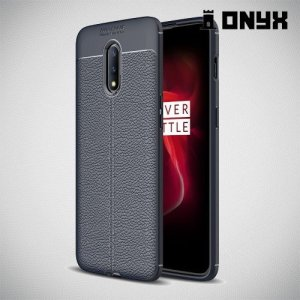 Leather Litchi силиконовый чехол накладка для OnePlus 7 - Синий