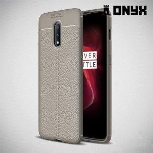 Leather Litchi силиконовый чехол накладка для OnePlus 7 - Серый
