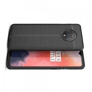 Leather Litchi силиконовый чехол накладка для OnePlus 7T - Черный