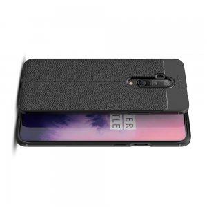 Leather Litchi силиконовый чехол накладка для OnePlus 7T Pro - Черный