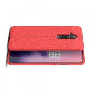 Leather Litchi силиконовый чехол накладка для OnePlus 7T Pro - Коралловый