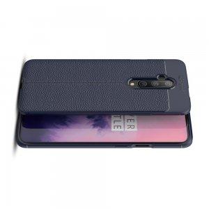 Leather Litchi силиконовый чехол накладка для OnePlus 7T Pro - Синий