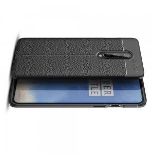 Leather Litchi силиконовый чехол накладка для OnePlus 8 - Черный