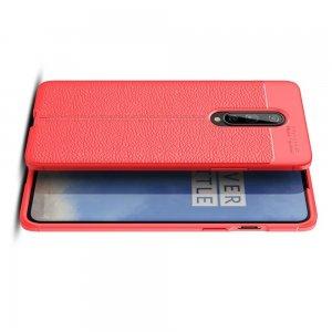 Leather Litchi силиконовый чехол накладка для OnePlus 8 - Красный