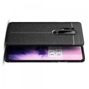 Leather Litchi силиконовый чехол накладка для OnePlus 8 Pro - Черный