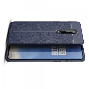 Leather Litchi силиконовый чехол накладка для OnePlus 8 - Синий
