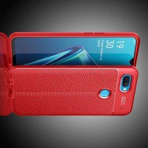 Leather Litchi силиконовый чехол накладка для Oppo A12 - Красный