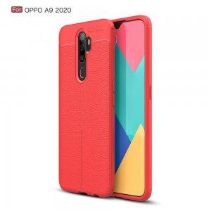 Leather Litchi силиконовый чехол накладка для Oppo A5 (2020) / Oppo A9 (2020) - Красный