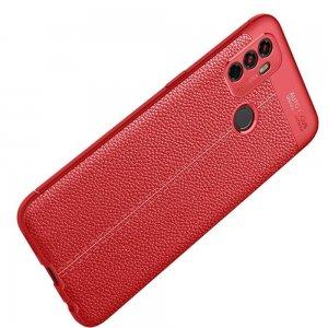Leather Litchi силиконовый чехол накладка для Oppo A53 (2020) - Красный