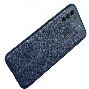 Leather Litchi силиконовый чехол накладка для Oppo A53 (2020) - Синий