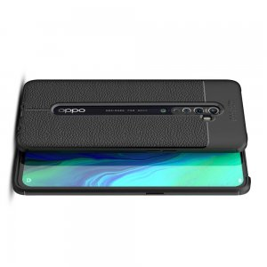 Leather Litchi силиконовый чехол накладка для OPPO Reno 2 - Черный