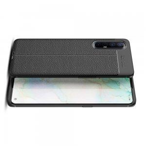 Leather Litchi силиконовый чехол накладка для Oppo Reno 3 Pro - Черный
