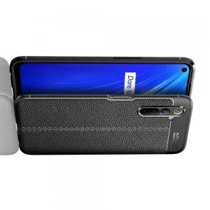 Leather Litchi силиконовый чехол накладка для Realme 6 - Черный