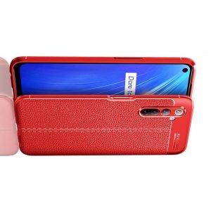Leather Litchi силиконовый чехол накладка для Realme 6 - Красный
