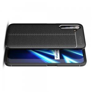Leather Litchi силиконовый чехол накладка для Realme 6 Pro - Черный