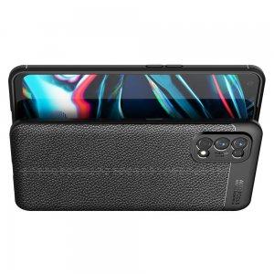 Leather Litchi силиконовый чехол накладка для Realme 7 Pro - Черный