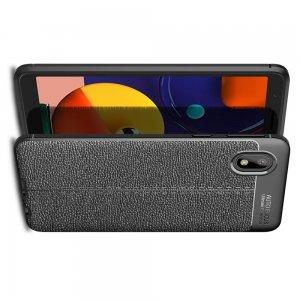 Leather Litchi силиконовый чехол накладка для Samsung Galaxy A01 Core - Черный