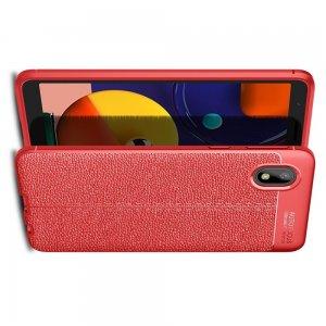 Leather Litchi силиконовый чехол накладка для Samsung Galaxy A01 Core - Красный