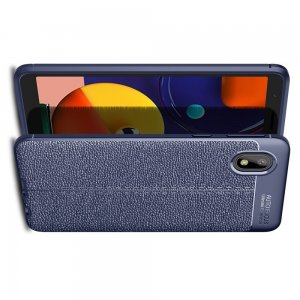 Leather Litchi силиконовый чехол накладка для Samsung Galaxy A01 Core - Синий